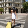 Stock Photo: Female walking with suitcase on crosswalk
