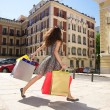 Stock Photo: Hurry up shopping woman