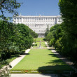 Madrid royal palace from Campo del Moro - Stock Photo