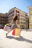 Hurry up shopping woman — Foto de Stock