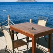 Chairs and table in beach cafe — Stock Photo
