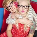 Happy nerdy couple — Stock Photo