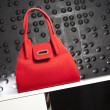 Fashionable red handbag — Stock Photo
