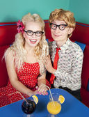 Happy nerdy couple — Foto Stock