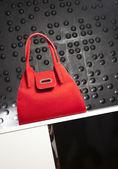 Fashionable red handbag — Stock Photo