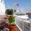 Canada Place & a moored cruise ship, Vancouver BC Canada. — Stock Photo