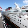 Side view of a cruise ship at Canada Place, Vancouver BC Canada. — Stock Photo
