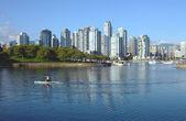 Vancouver BC waterfront False creek bay south side & sailboats. — Stock Photo