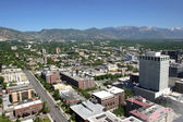 Öst salt lake city, city view och bergen utah. — Stockfoto