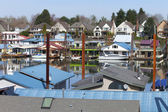 A community on the river and land, Portland OR. — Stock Photo