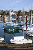 Sailboats in a marina, Portland OR. — Stock Photo