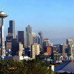 Seattle skyline panorama at sunset. — Stock Photo