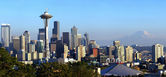 Seattle skyline panorama at sunset. — Stock Photo