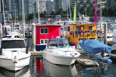 Boat houses in downtown Vancouver BC Canada. — Stock Photo