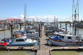 Marina & moored fishing boats in Richmond BC Canada. — Stock Photo