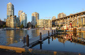 Sunset in Granville island Vancouver BC Canada. — Stock Photo