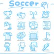 Hand drawn soccer,sport icon set - Stock Vector