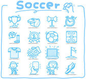 Hand drawn soccer,sport icon set — Vettoriale Stock