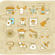 Royalty-Free Stock Vectorielle: Hand drawn wild west ,cowboys icon set