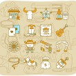 Hand drawn wild west ,cowboys icon set - Stock Vector