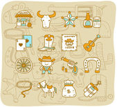 Hand drawn wild west ,cowboys icon set — Stock Vector