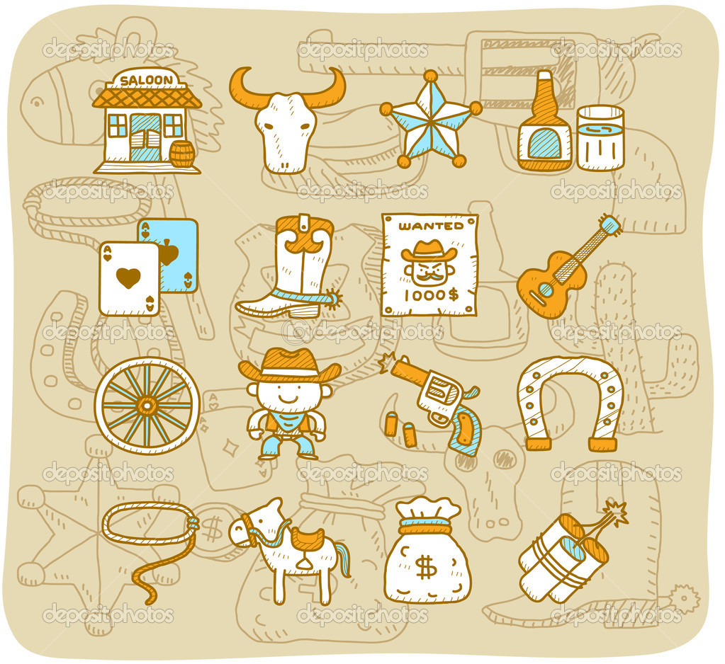 Vector cartoon wild west cowboys icon set — Stock Vector #8017351