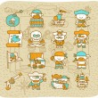 Royalty-Free Stock Immagine Vettoriale: Hand drawn Pirate icon set