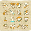 Hand drawn Pirate icon set - Stock Vector
