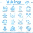 Hand drawn Viking Pirate icon set — Stock Vector