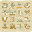 Hand drawn Viking Pirate icon set — Stock Vector #8058869
