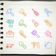 Hand drawn working  tools icon set - Stock Vector