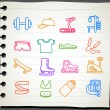 Hand drawn fitness icon set - Stock Vector