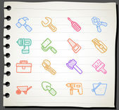Hand drawn working tools icon set — Stock Vector