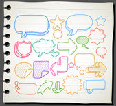 Hand drawn communication, speech bubbles collection — Stock Vector