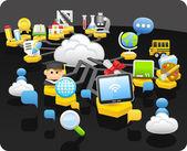 Tablet-pc, bildung, cloud-computing-konzept — Stockvektor