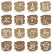 Hand drawn French,Europe,travel,landmark icon set — Stock Vector
