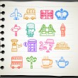 Hand drawn Britain,The United Kingdom icon set — Imagen vectorial