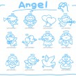 Hand drawn Angel icon set — Stock vektor #8238126