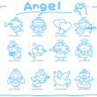 Hand drawn Angel icon set — Vettoriale Stock