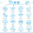 Hand draw tree icon set - Stock Vector