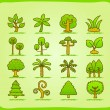 Hand draw tree icon set — Stock Vector