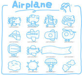 Airplane handdraw icon set — Stock Vector