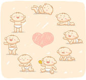 Hand drawn Baby grow up with 8 steps. — Stock Vector