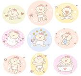 Hand drawn baby girl — Stock Vector