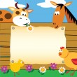 Stock Vector: Farm animals card