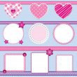 Stock Vector: Scrapbook elements pink - set 2