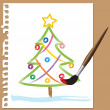 Childlike painting - Xmas tree — Stock Vector