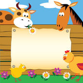 Farm animals card — Stock Vector