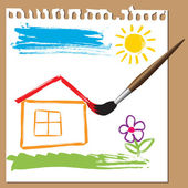 Childlike painting - house — Stock Vector