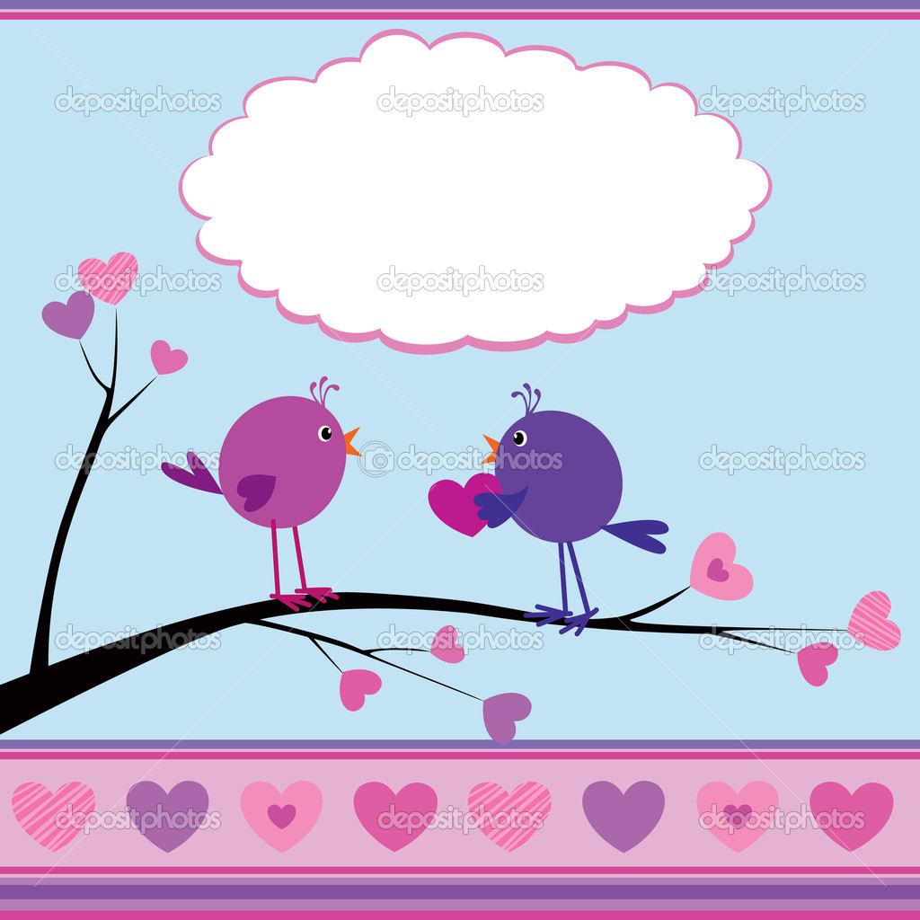 Cute greetings card with birds for Valentine Day — Stock Vector #8068869